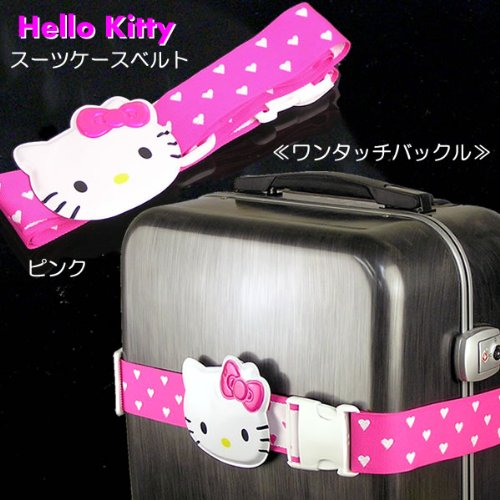 Made in Japan Hello Kitty suitcase belt «heart polka dot pink» Hello Kitty one touch buckle supple belt use