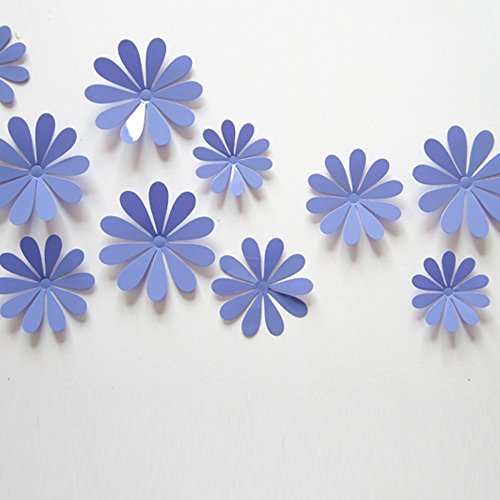 ufengke® 12 Pezzi 3D Fiori Adesivi Murali Fashion Design DIY Fiori Arte Adesivi da Parete Artigianato Decorazione Domestica, Viola