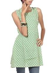Rajrang Cotton Green Screen Printed Tunic Top, Size: M