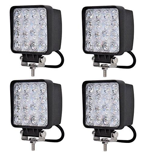"Zxmoto Square Spot Led Work Lights 48W 6000K 4.5"" Lamp Lighting For Road 4X4 Tractor Atv - 4Pcs"