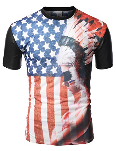 J.Tomson Mens Short Sleeve American Flag Print T-Shirt