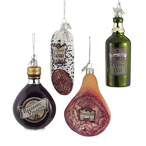 "Gem Italian Kitchen: 3.5"" Noble Gems Glass Italian Food Ornament, Set Of 4"