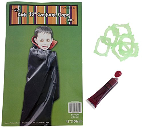 Halloween Bundle Boy Girl Vampire Cape 42in 6 Glow in the Dark Teeth Fake Blood
