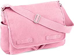 Pink Classic Army Messenger Heavy Weight Shoulder Bag