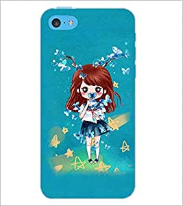 PrintDhaba Doll and Butterfly D-1146 Back Case Cover for APPLE IPHONE 5C (Multi-Coloured)