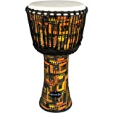 World Rhythm MDJ001-OR 8 inch Goat Skin PVC Djembe Drum - Orange