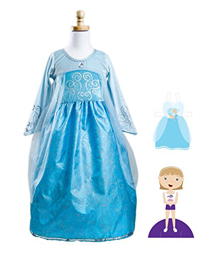 Ice Princess Dress (Frozen Elsa Inspired Costume) with Matching Paper Doll Set