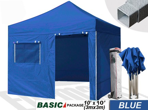Eurmax Canopy Basic 10 X 10 Pop Up Tent With Sidewalls Instant Gazebo Wedding Canopy Bonus Wheeled Bag And Awning, Blue front-969377