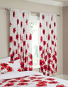 Red Poppy Curtains 66x72 Inchs Kitchen Home