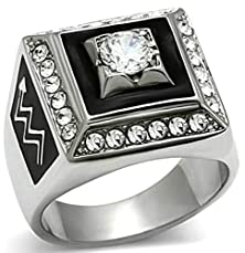 buy Beydodo White Gold Plated Men'S Promise Ring Square Surround Cubic Zirconia Vintgage Style Size 8