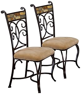 """Pompei Regular Dining Chairs - Set of 2 (Black Gold) (40.25""""H x 18.5""""W x 22.5""""D)"""