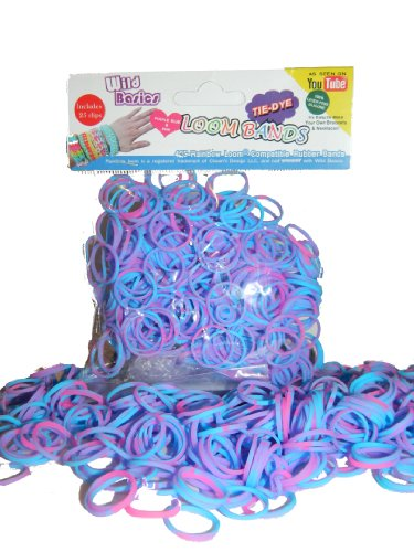 Wild Basics Loom Rubber Bands - 425 Pc Tie Dye Rubber Band Refill Pack (Purple / Blue) - 100% Latex Free