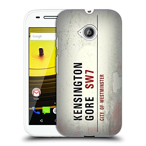 Ufficiale London Kensington Gore Segnali Stradali Vintage 2 Cover Retro Rigida per Motorola Moto E (2nd gen)