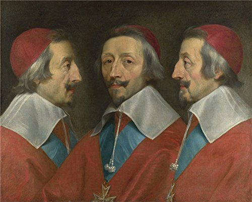 Oil Painting 'Philippe De Champaigne And Studio Triple Portrait Of Cardinal De Richelieu ' Printing On Perfect Effect Canvas , 20 X 25 Inch / 51 X 63 Cm ,the Best Home Theater Gallery Art And Home Decor And Gifts Is This Beautiful Art Decorative Canvas Prints