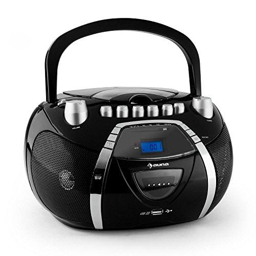 auna Beeboy radio portatile boombox (mangianastri per cassette, lettore CD, porta USB-5V, sintonizzatore radio FM, registratore cassette) - nero