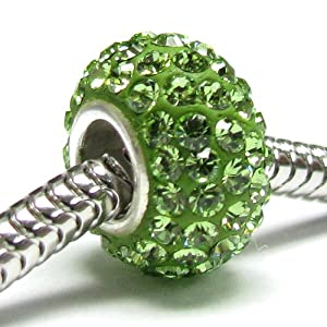Queenberry (Free S/H) Sterling Silver Birthstone Round Peridot Green Crystal For Pandora Troll European Bead Charm Bracelets August