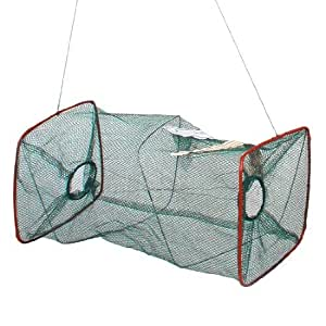 45cm Long Zipper Closure Lobster Fishes Keeping Fishing Net Green