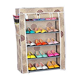 Evana 2 feet Wide , 3 feet Tall , Five Layer Shoe Rack / Shoe Collapsible Almirah Shelf / Folding Shoe Cabinet Portable Foldable Wardrobe,Easy Installation Stand For Shoes- Flower Pattern
