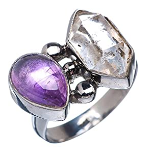 Ana Silver Co Herkimer Diamond, Amethyst 925 Sterling Silver Black Rhodium Plated Ring Size 8