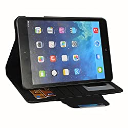 HOKO Black Leather wallet Flip Case Cover Stand for Apple iPad Mini with Retina display (with 5 card slots and Auto wake sleep feature)