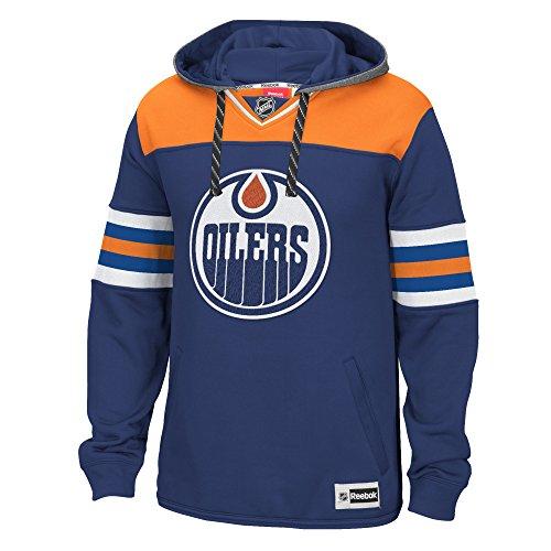 """Edmonton Oilers Reebok NHL Men's """"Jersey Maglia"""" Pullover Hooded Sweatshirt Felpa"""