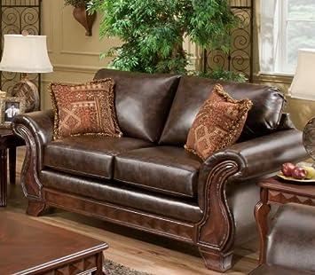 Chelsea Home Furniture Jefferson Loveseat, New Era PU Walnut/Thailand Spice Pillows (2)