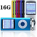 "G.G.Martinsen 16 GB Slim 1.78"" LCD Mp3 Mp4 Player Media/Music/Audio Player with accessories-Blue Color"