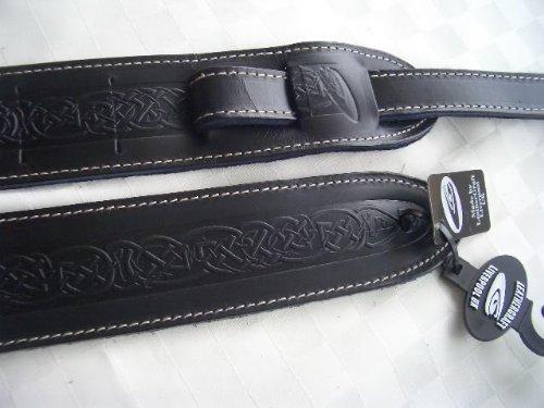 Uk Made Celtic Design Real Leather Guitar Strap - Black