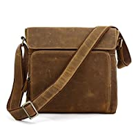 Kattee Leather Small Crossbody Messenger Shoulder Bag, Fit Ipad