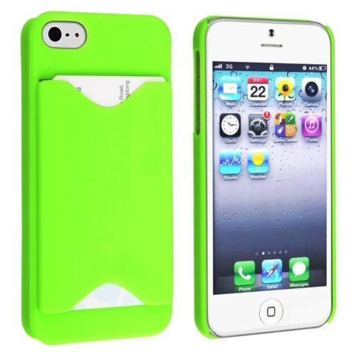 Importer520 Clip-On Case W/ Business Card Holder Compatible With Apple Iphone 5S / Iphone 5 Sprint, Verizon, At&T Wireless (Neon Green)