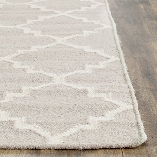 Safavieh Dhurries Collection DHU554G Hand Woven Grey and Ivory Wool Area Rug, 5 feet by 8 feet (5' x 8')