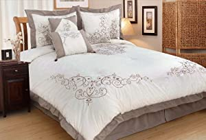 United Linens Bella 300 Thread Count 100-Percent Cotton 4-Piece Scroll Embroidery Sheet Set, Full, Ivory