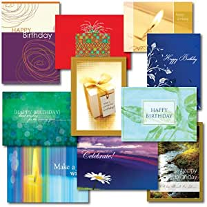 Ten Design Birthday Card Assortment. A variety box set of 3 each of 10 contemporary designs and verses. A total of 30 birthday cards and 31 envelopes. For him, for her, for personal or business use. Say happy birthday from a wide selection. Satisfaction guaranteed.