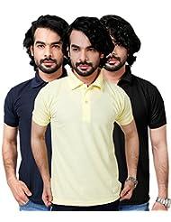 Elligator Stylish Yellow,Black & NavyBlue Polo T-Shirt Combo
