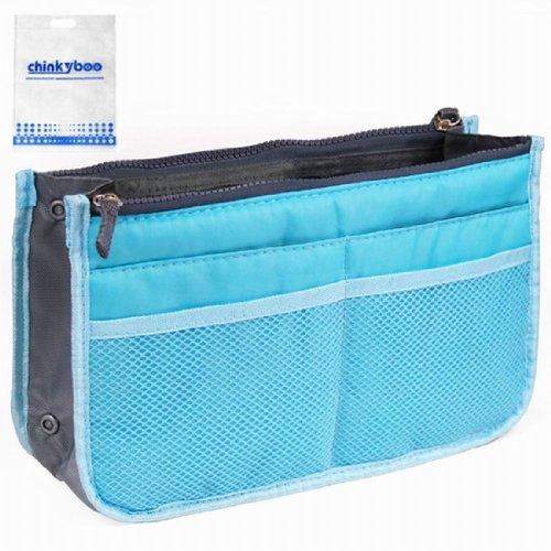 12 Pockets Insert Travel Organiser Handbag Organizer Bag - Grey, Blue, Green, Pink, Wine red, Orange (Blue)