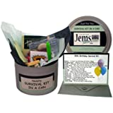 50th Birthday Survival Kit In A Can. Novelty Fun Gift - Humorous Happy 50th Present & Card All In One. Customise Your Can Colour. (Black/Mint)
