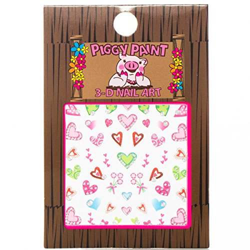 Piggy Paint Nail Art Sticker Accessories for Girls Fingernails - Multi-Colored Hearts (Heart Fingernail Polish compare prices)