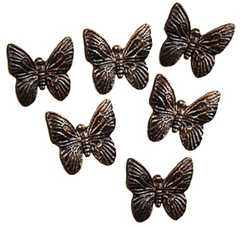 Set Of 6 Cast Iron Butterfly Drawer Pulls Knobs front-1053586
