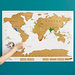 Travel Scratch World Map (34x20 inch) - Track Places Where You\'ve Been To!