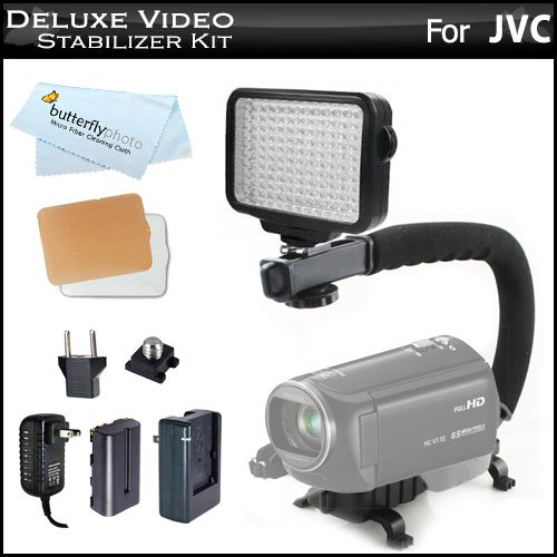 10-Piece Pro 120 Led Dimmable On-Camera Led Video Light Kit With Battery, Charger, Diffusers Case + Pro Action Stabilizing Handle For Jvc Gz-E100, Gz-E300, Gz-Ex310, Gz-Ex355, Gz-E505, Gz-Ex515, Gz-Ex555, Gz-Vx815B, Gc-Px100 Full Hd Everio Camcorder