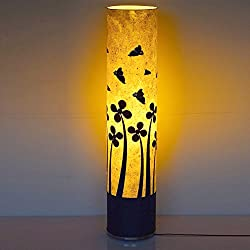 Craftter BUTTERFLY on FLOWERS White and Black (35 inch) Long Cylindrical FLOOR LAMP