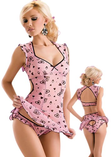Bei wang Pink Frauen Women's Sexy Lingerie Schlafanzug ärmellos One Size