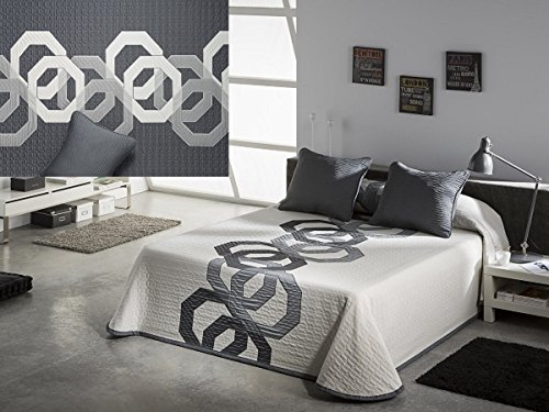 Textilhome - Colcha piqué Reversible GRAFFIC 135 cm. Color Gris