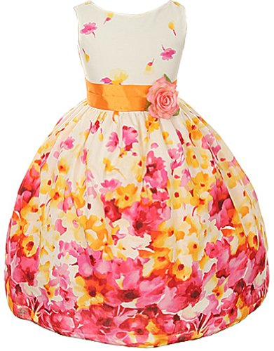 Cotton Floral Spring Easter Flower Girl Dress In Fuchsia - 4 front-1069329