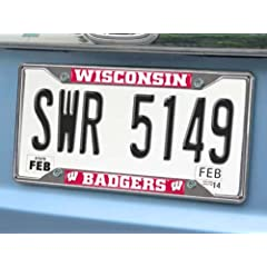 Buy FANMATS NCAA University of Wisconsin Badgers Chrome License Plate Frame by Fanmats