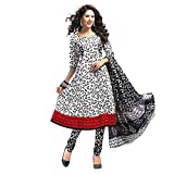 Arya Creation Women's Pure Georgette Unstitched Dress Material (MEET 032_White Black_Free Size)