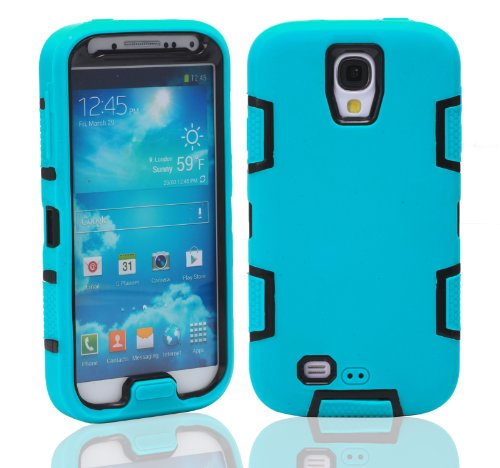 Magicsky Robot Series Hybrid Armored Case For Samsung Galaxy Iiii S4 I9500 - 1 Pack - Retail Packaging - Black/Blue