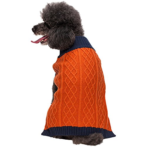 """Blueberry Pet 12"""" Back Length Clothes Cable Knit Colorblock Dog Sweater In Orange & Midnight Blue Medium front-935840"""