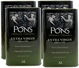 Pons Seleccion Familiar Family Selection Extra Virgin Olive Oil Case of 4 - 3 Liter Tins