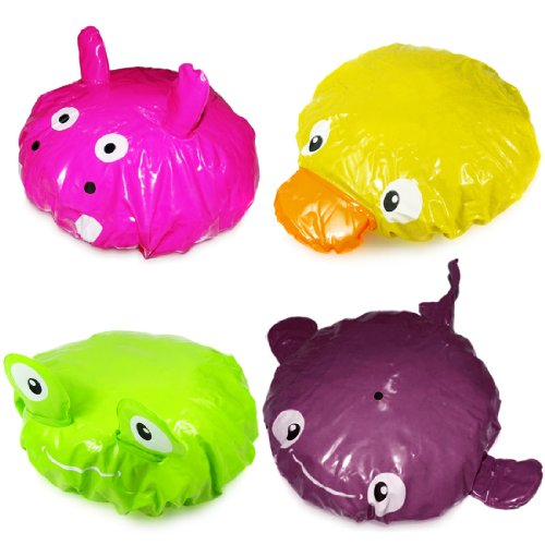 Kilofly Fun Shower Caps Pack [Set Of 4], Frog, Hippo, Duck & Dolphin